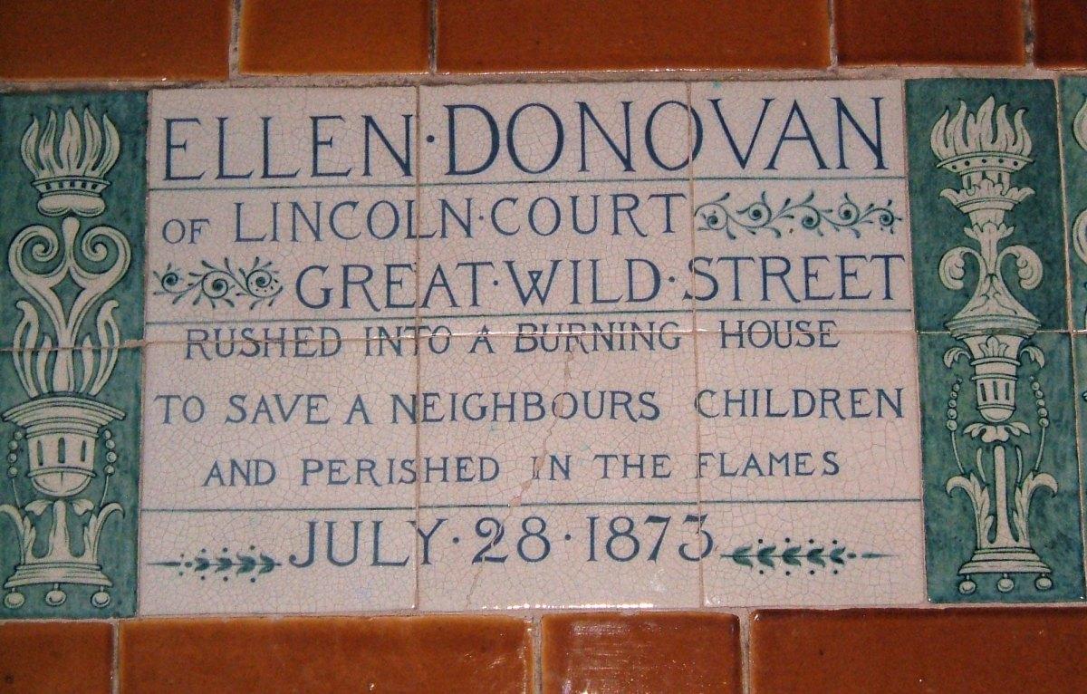 A plaque on the Watt's Memorial