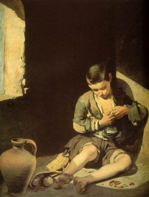 The Young Beggar - a boy delousing himself, probably an orphan, living on the streets