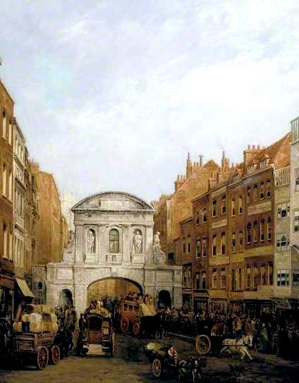 William Haines, Temple Bar from the Strand in 1873, in the City Corporation Art Gallery