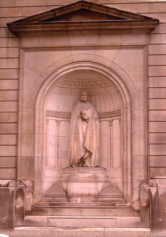 Sir John Soane's statue in the north curtain wall