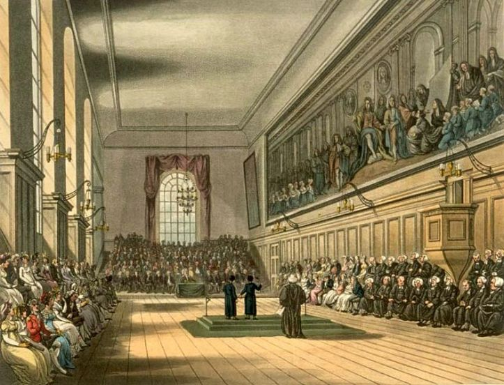 Christ's Hospital, early 19th century, with two scholars (headed for Cambridge & Oxford) giving orations in Greek and English