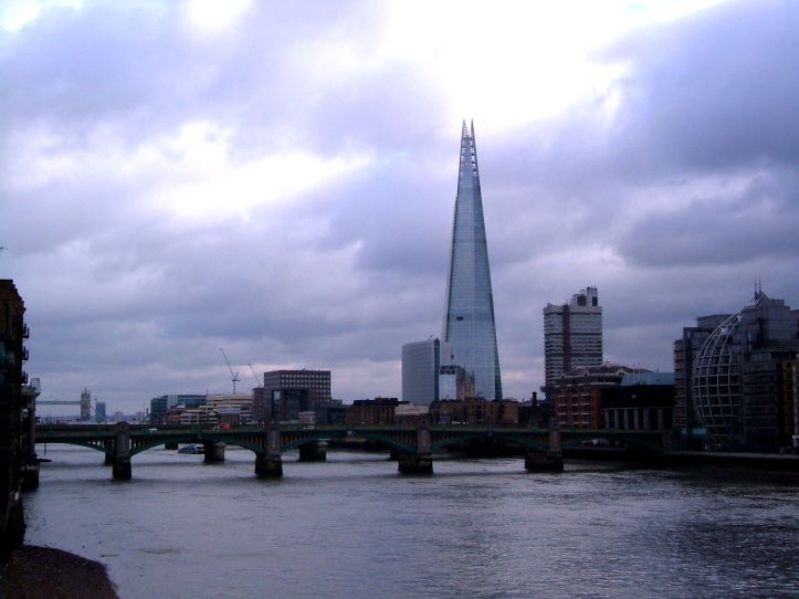 Southwark Bridge today, with the Shard piercing the sky