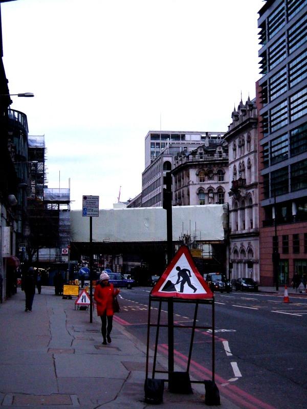 Farringdon Road, with Holborn Viaduct under wrap