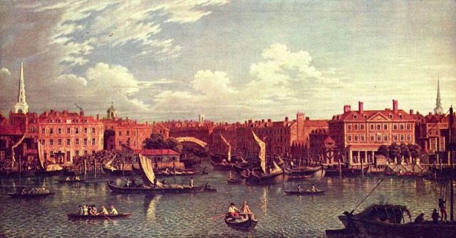 The Fleet River in 1750, showing its use for trade