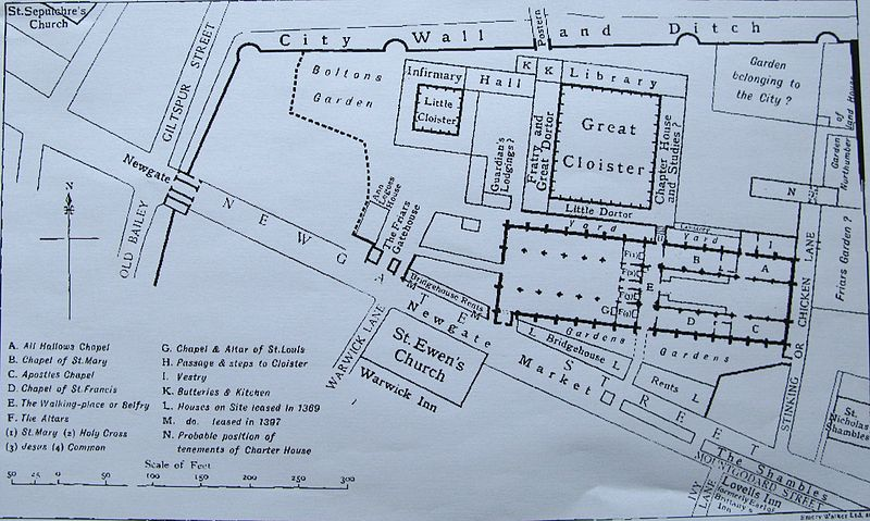 Grey Friars site in early 16th century