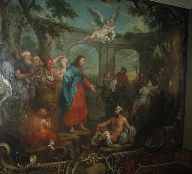 Part of Hogarth's mural on the great staircase in the Museum at St Barts