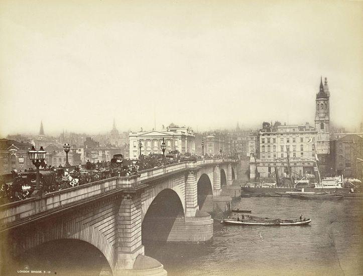 London Bridge in the late 1800s. Opened in 1831 - Bradshaw's bridge