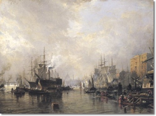 Pool of London, Samuel Bough, 1850