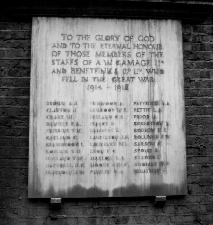 A W Gamage & Benetfink & Co employees killed in WWI