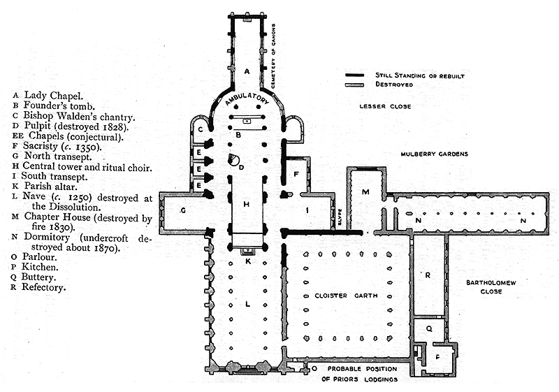 St Barts, conjectural plans at the Dissolution