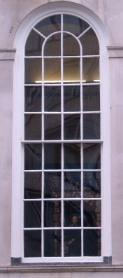 Peering through a window at Stationers' Hall