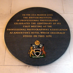 Plaque remembering Anderton's Hotel