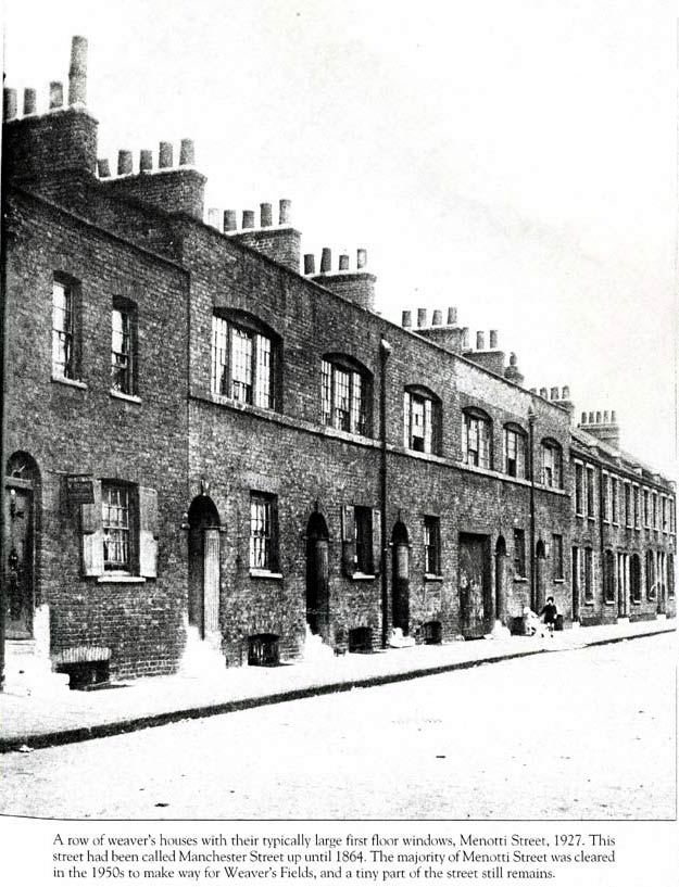 Weavers houses in Menotti Street, Bethnal Green, 1927. Note the large windows on the first floor.