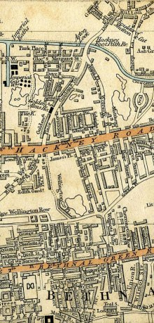 Map of 1837, showing Bishop Bonner's Hall