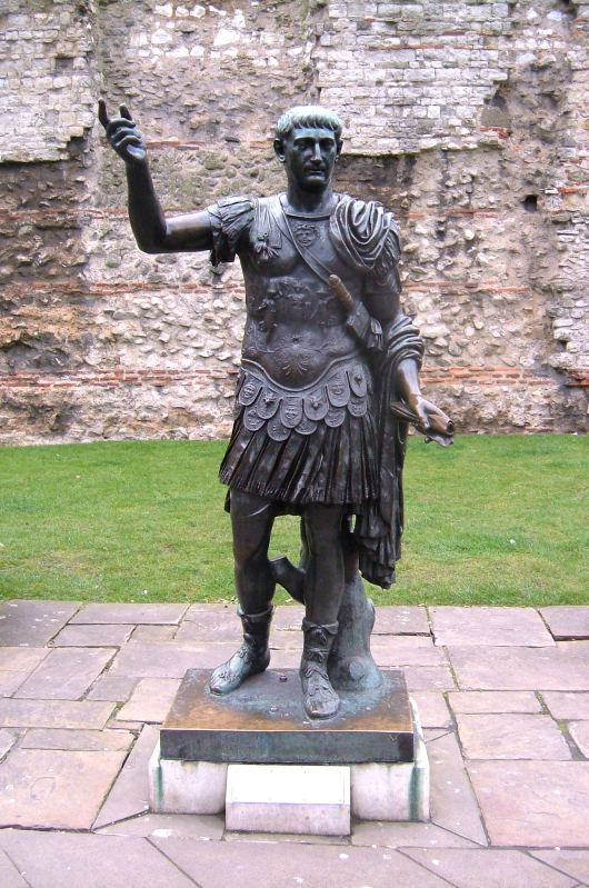 The Emperor Trajan? just outside Tower Hill underground, and one end of the City Wall