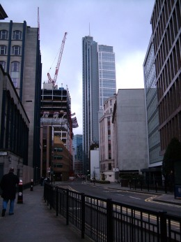 London Wall Street today, with the line of the wall marked by the buildings on the right