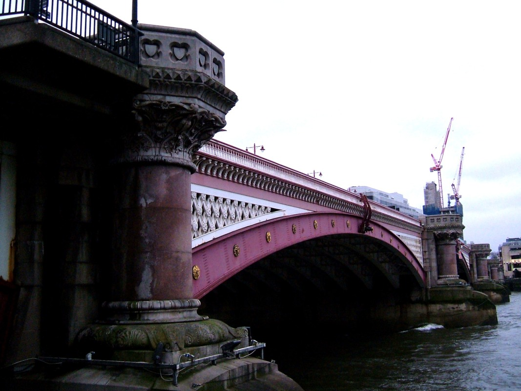 Blackfriars Bridge and the western end of the Roman Wall