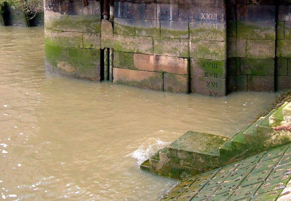 Hermitage entrance, depth markings of the water so that ships could judge whether or not it was safe to enter