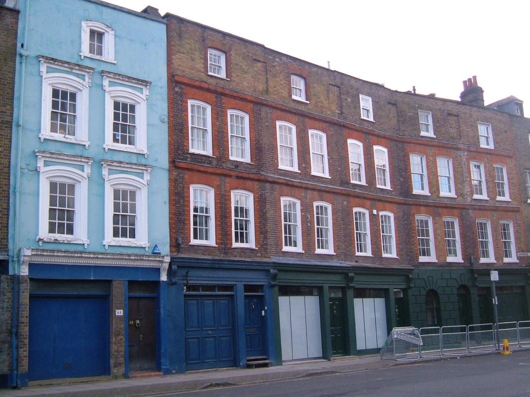 Georgian houses next to The Grapes pub in Narrow Street