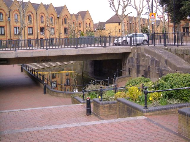 The remains of the canal connecting the Hermitage basin to the main dock