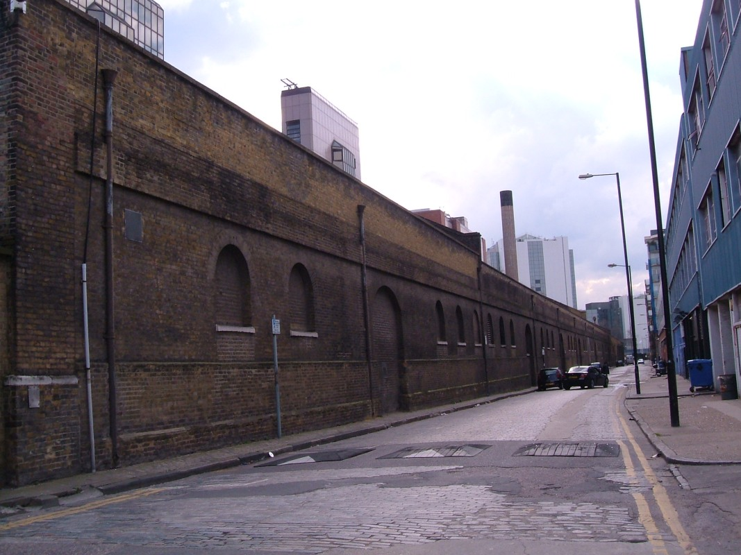 London Dock wall seen from Pennington Street
