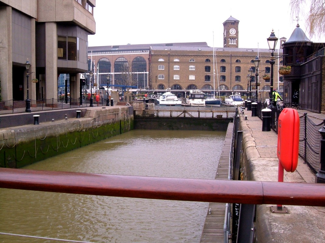 St Katharine Dock, the lock between the river and the basin