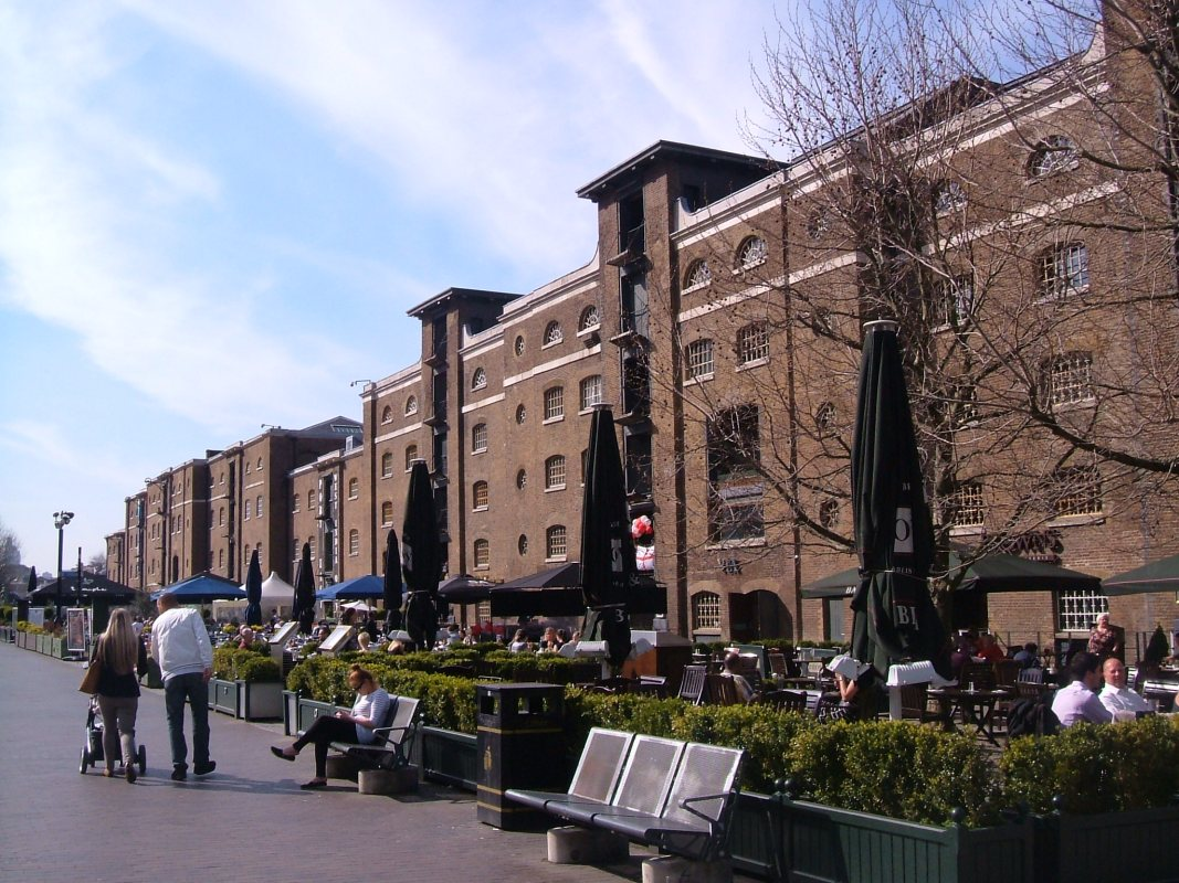 Last warehouses on the West India Docks, with Museum of London, Docklands
