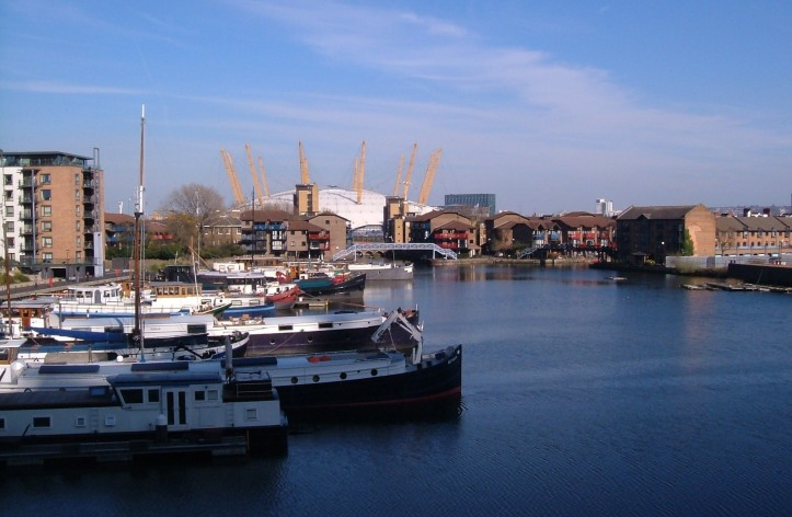 The Blackwall Basin, with the exit to the Thames at the top right