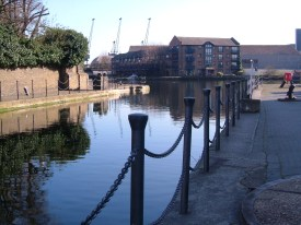 The lock linking the Poplar Basin with the Blackwall Basin