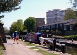 A narrow boat in the lock