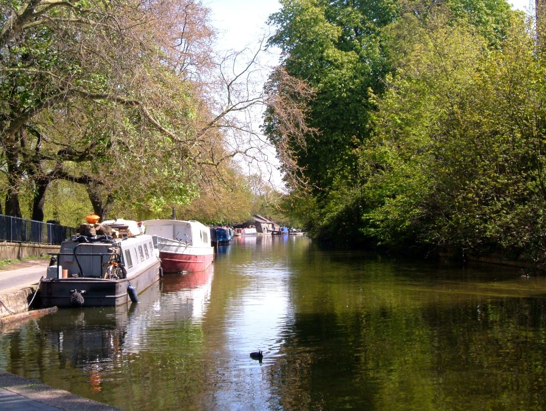 The Regent's Canal, with Victoria Park on the left