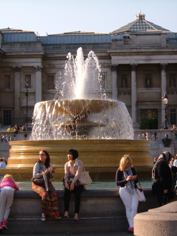 One of the fountains in Trafalgar Square