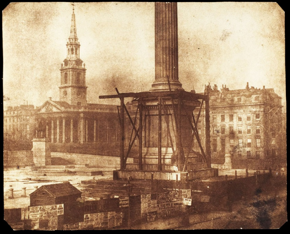 Nelson's Column, 1843, with St Martin's in the background
