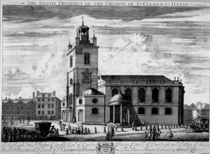 St Clement Danes, c.1720, before the construction of the Aldwych