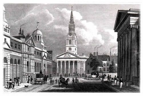 St Martin's in the Fields, with the new National Gallery on the left