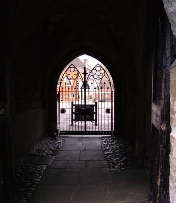 The gate into Westminster School