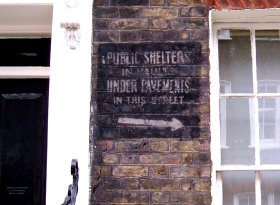Air raid shelter sign at no.8 Lord North Street