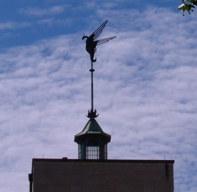 The Phoenix on the roof of the school, commemorating its revival after WWII