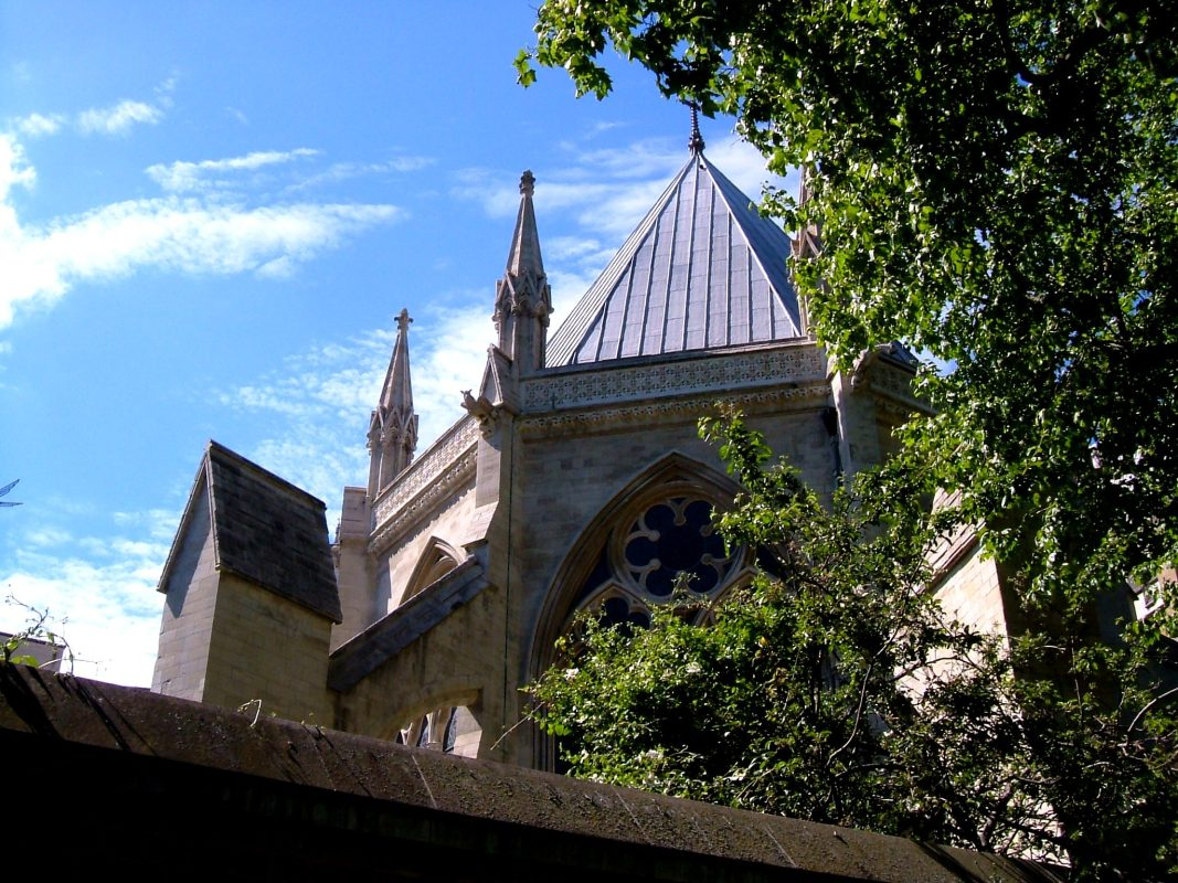 The Chapter House roof, from outside the walls of Westminster Abbey