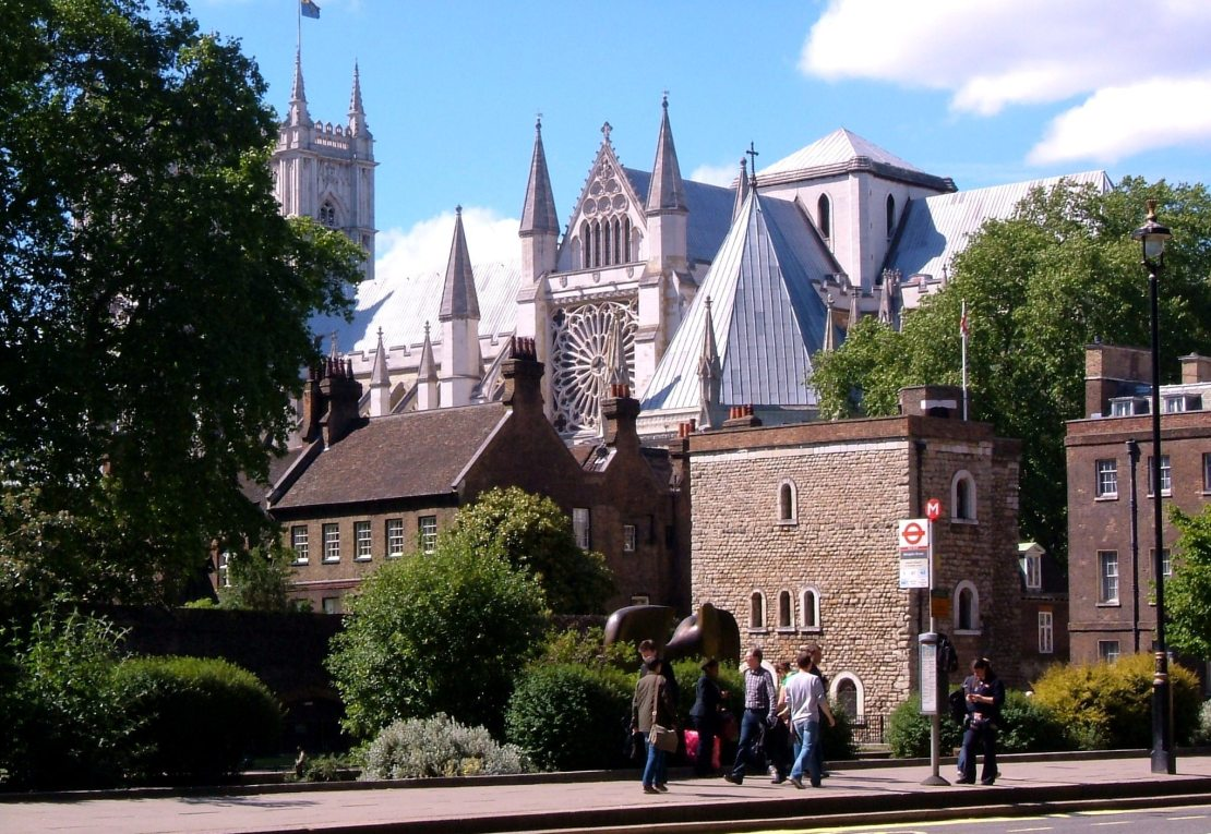 Westminster Abbey from the site of the Palace of Westminster