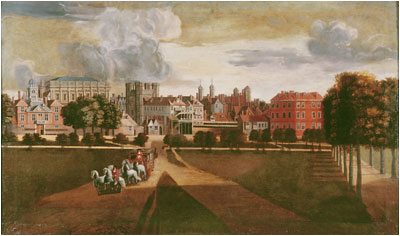 The old Palace of Whitehall, Hendrik Danckerts, 1675