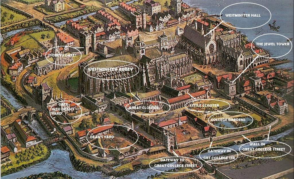 Westminster Abbey and Westminster Palace a Tudor map London Traveller