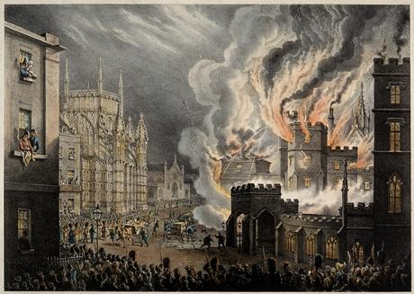 William Heath's drawing of the Palace on fire
