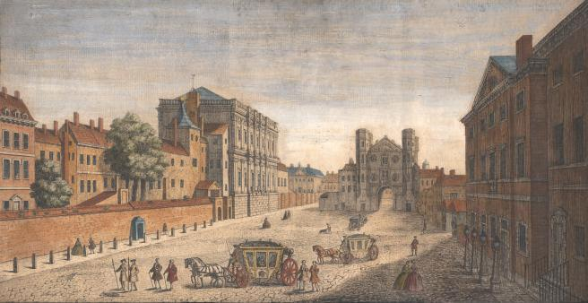 Whitehall, 1740, looking south, with the Banqueting Hall on the left