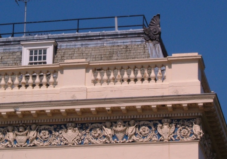 The frieze on the IOD building, with a curious 'winged' ornament on the roof