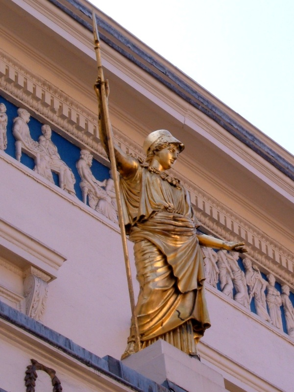 The frieze and the statue of Minerva