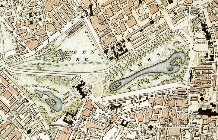 St James's Palace, with Green Park and St James's Park, 1833 map by Schmollinger