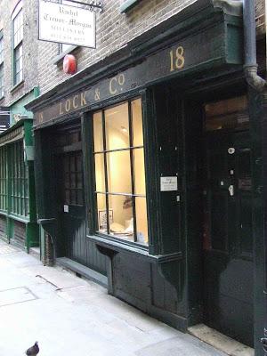 Locks Hatters, the door into Crown Passage