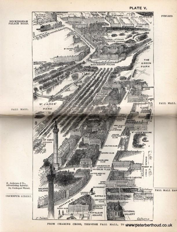 Pall Mall, printed in Herbert Fry's London, 1880