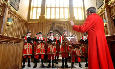 Choir rehearsing for the Royal Wedding in the Chapel Royal, St James's Palace